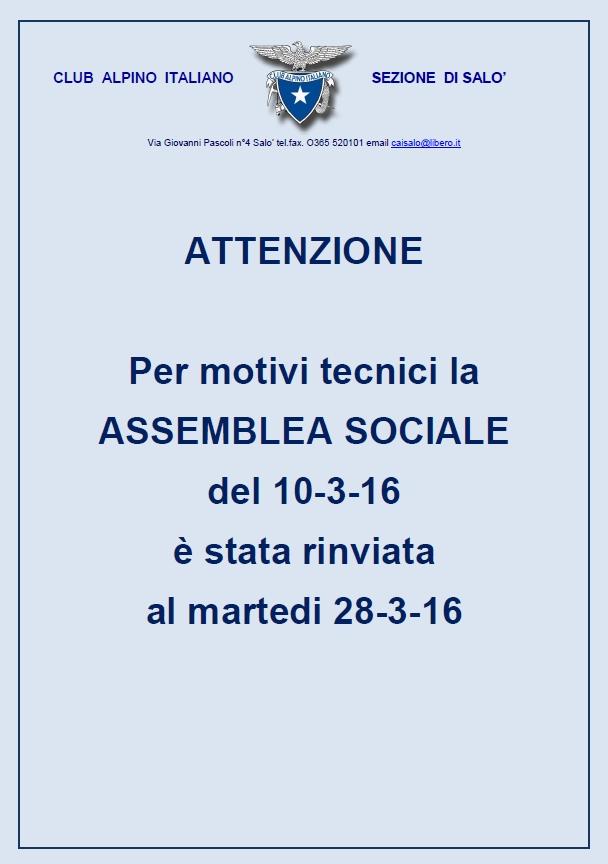 ATTENZIONE spostamento assemblea sociale