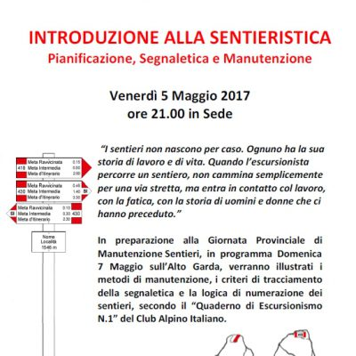 SERATA INTRODUZIONE ALLA SENTIERISTICA – 5 MAGGIO 2017