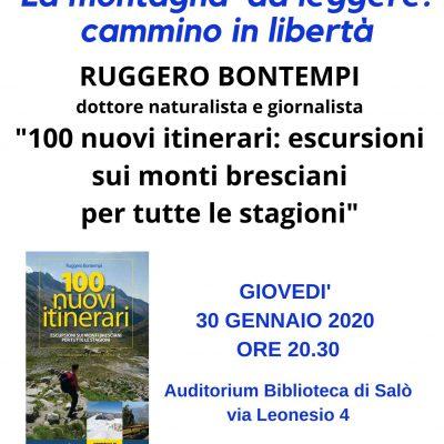 Giovedi' 30 gennaio, la sezione CAI di Salò presenta la serata con Ruggero Bontempi